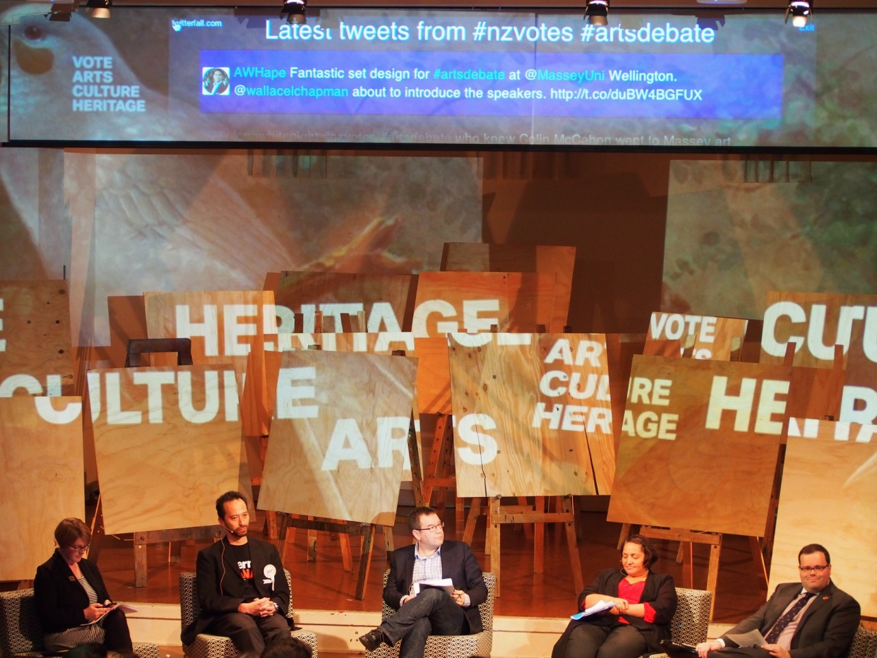 Figure 15. Arts debate with projected backdrop. Example of collection image reuse