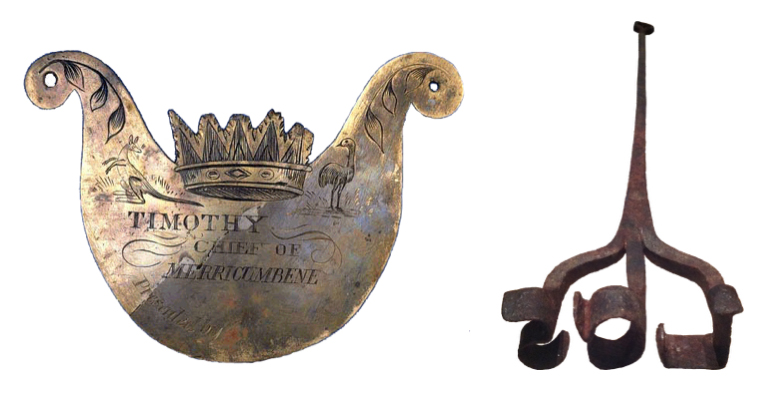 On the left is a breastplate given by a white Australian settler to an Aboriginal man; on the right, a branding iron. What connects them is that both label bodies.